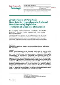 Amelioration of Persistent, Non-Ketotic ... - Semantic Scholar