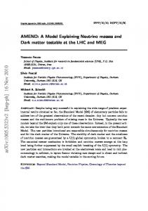 AMEND: A Model Explaining Neutrino masses and Dark matter ...