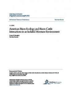 American Bison Ecology and Bison-Cattle Interactions in an Isolated ...