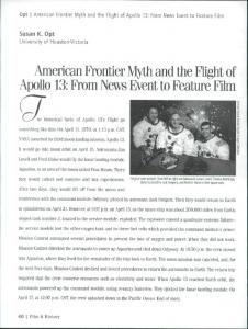 American Frontier Myth and the Flight of Apollo 13