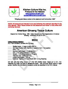 American Ginseng Tissue Culture