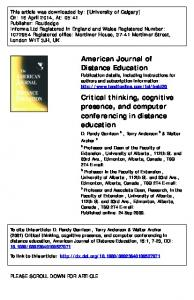 American Journal of Distance Education Critical ...
