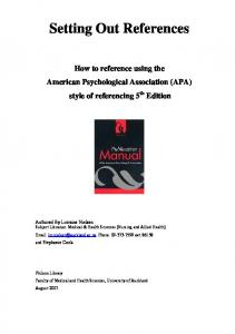 (American Psychological Association) Referencing Guide 5th Edition