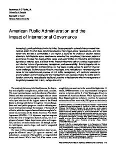 American Public Administration and Impacts of International ...