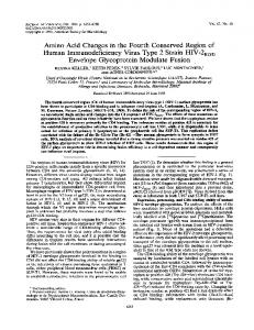 Amino Acid Changes in the Fourth Conserved ... - Journal of Virology