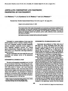 amino-acid composition and nootropic properties of ... - Springer Link