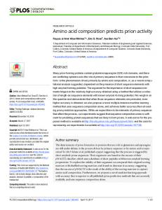 Amino acid composition predicts prion activity - PLOS
