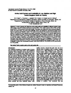 Amino Acid Content and Availability in Low, Medium and ... - CiteSeerX