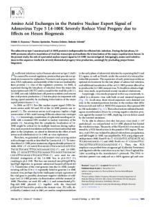 Amino Acid Exchanges in the Putative Nuclear ... - Journal of Virology