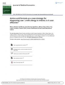 Amino acid formula as a new strategy for