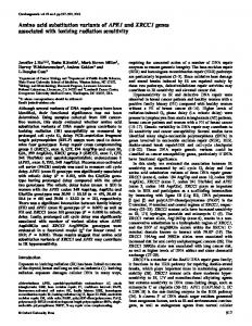 Amino acid substitution variants of APE1 and XRCC1 genes ...