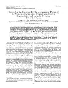 Amino Acid Substitutions within the Leucine Zipper Domain of the ...