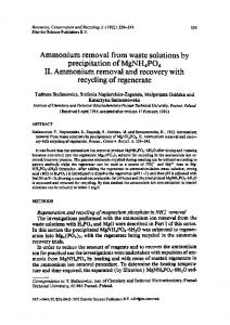 Ammonium removal from waste solutions by ... - Science Direct