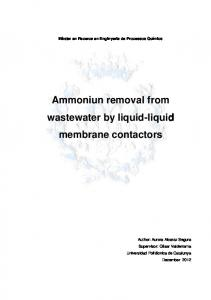 Ammonium removal from wastewater by liquid-liquid contactors