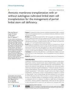 amniotic membrane transplantation with or without
