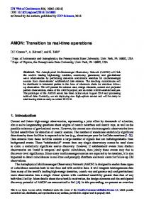 AMON: Transition to real-time operations - EPJ Web of Conferences