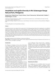 Amphibian and reptile diversity in Mt. Kalatungan Range Natural Park ...