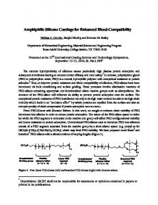 Amphiphilic Silicone Coatings for Enhanced Blood ...