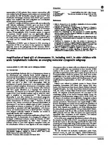 Amplification of band q22 of chromosome 21, including AML1 ... - Nature
