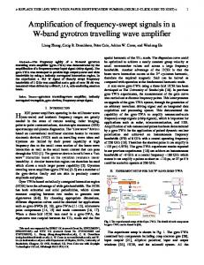 Amplification of frequency-swept signals in a W-band gyrotron