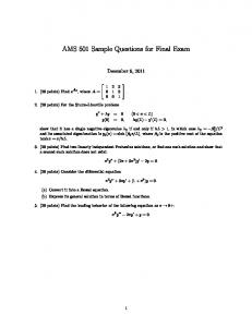 AMS 501 Sample Questions for Final Exam
