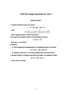 AMS 501 Sample Questions for Test 2