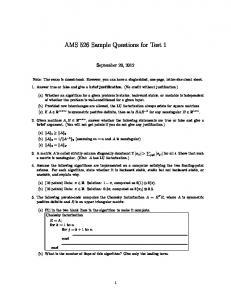 AMS 526 Sample Questions for Test 1