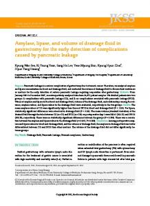 Amylase, lipase, and volume of drainage fluid in