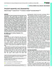 Amyloid assembly and disassembly - Journal of Cell Science - The ...