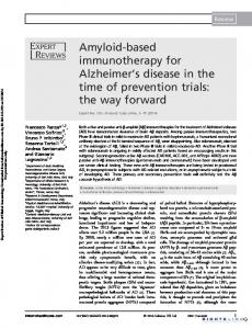 Amyloid-based immunotherapy for Alzheimer's ...