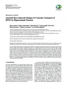 Amyloid-Beta Induced Changes in Vesicular Transport of BDNF in ...