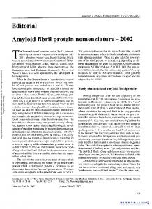 Amyloid Fibril Protein Nomenclature - 2002