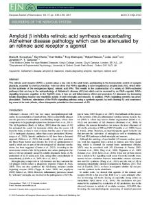 Amyloid inhibits retinoic acid synthesis exacerbating ... - BioMedSearch