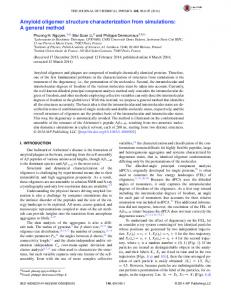 Amyloid oligomer structure characterization from simulations: A