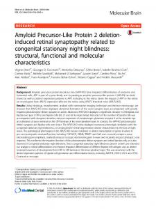 Amyloid Precursor-Like Protein 2 deletion-induced retinal ...