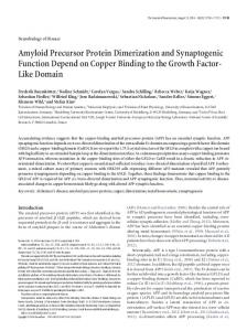 Amyloid Precursor Protein Dimerization and Synaptogenic Function ...