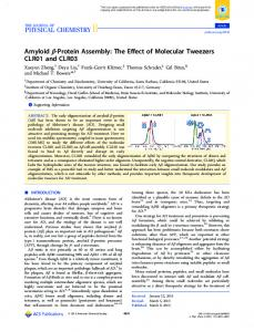 Amyloid β-Protein Assembly: The Effect of Molecular Tweezers CLR01 ...