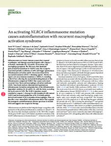 An activating NLRC4 inflammasome mutation causes - Bioinnovatise