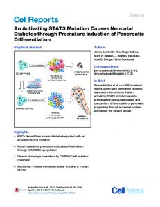 An Activating STAT3 Mutation Causes Neonatal Diabetes ... - Cell Press