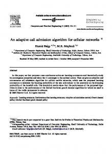 An adaptive call admission algorithm for cellular networks - CiteSeerX
