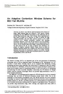 An Adaptive Contention Window Scheme for 802.11ah WLANs