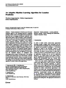 An Adaptive Machine Learning Algorithm for Location Prediction