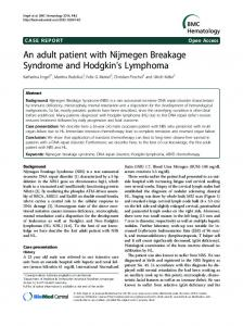 An adult patient with Nijmegen Breakage Syndrome and Hodgkin's ...