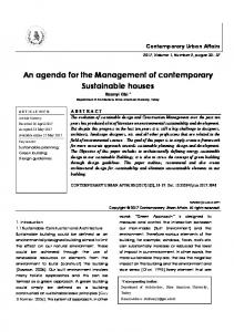 An agenda for the Management of contemporary Sustainable houses / journal of contemporary urban affairs (JCUA)