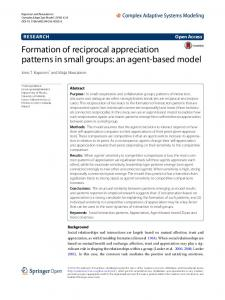 an agent-based model - Complex Adaptive Systems Modeling