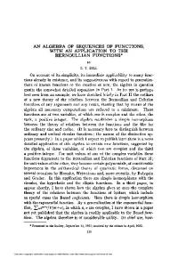 AN ALGEBRA OF SEQUENCES OF FUNCTIONS, BERNOULLIAN ...