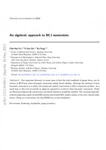 An algebraic approach to BCJ numerators