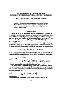 AN ALGEBRAIC APPROACH TO THE CAMERON-MARTIN ...