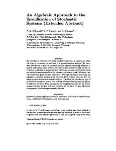 An Algebraic Approach to the Speci cation of Stochastic ... - CiteSeerX