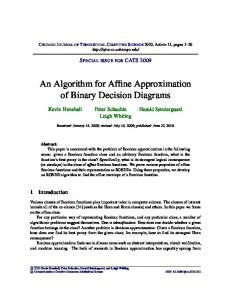An Algorithm for Affine Approximation of Binary Decision Diagrams